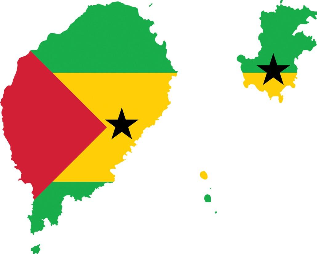 Drapeau national de Sao Tomé-et-Principe inscrit dans la carte